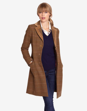 Womens Semi Fitted Tweed Coat, Floral Lining, SandDUCHESSnow £160.00 was from £240.00
