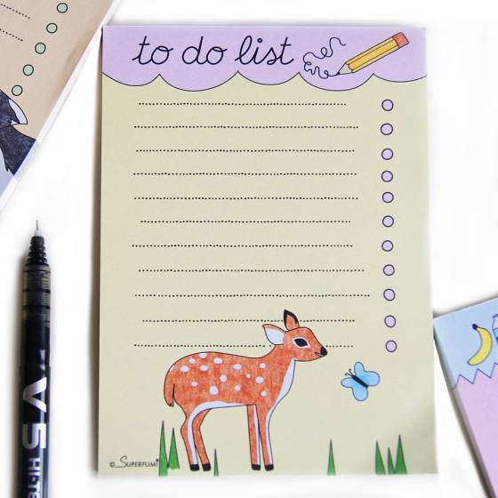 Fawn And Butterfly Magnetic To Do List Pad, £4, by SUPERFUMI on Not on the High Street