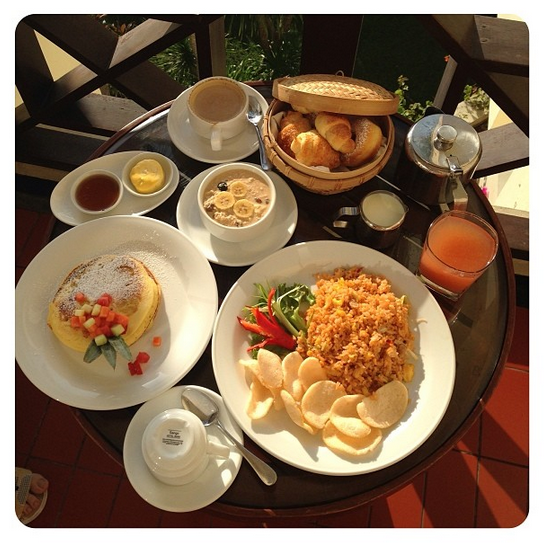 Room service breakfast on the morning of one of our excursions