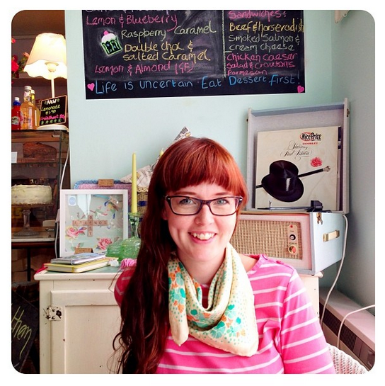 Me in my new scarf at Cupcake and Crumb