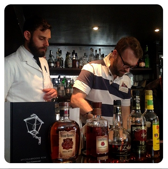 Adam mixing with the pros at 69 Colebrooke Row