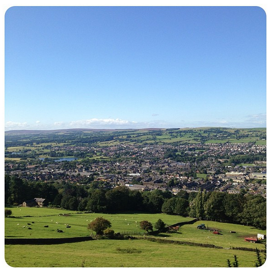 The view of Otley from the Chevin Forest