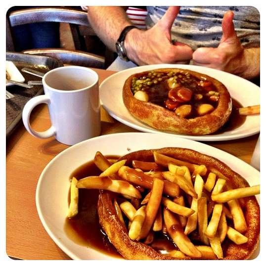 giant yorkshire pudding filled with chips and gravy
