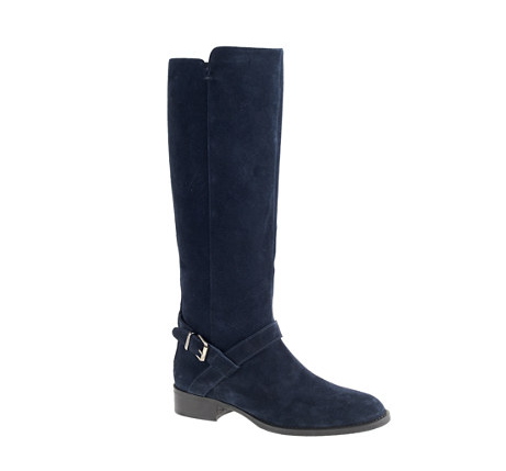 J. Crew, Lowell Boots in Dark Navy, Regular calf £298.00 / Extended Calf £318.00