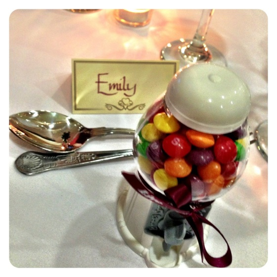 Gum ball sweets wedding favour