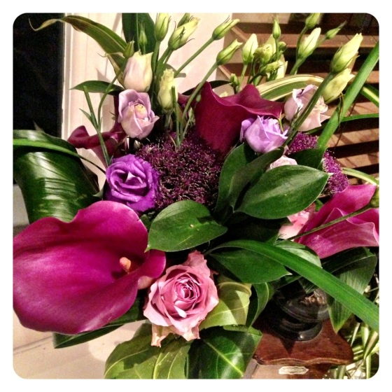 Mauve and purple wedding flowers