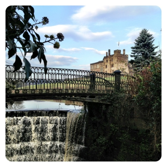 Ripley Castle bridge and waterfall