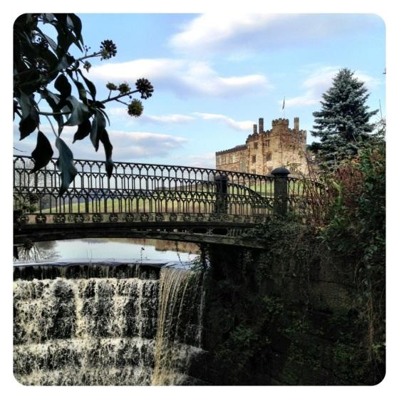 Ripley Castle bridge and waterfall