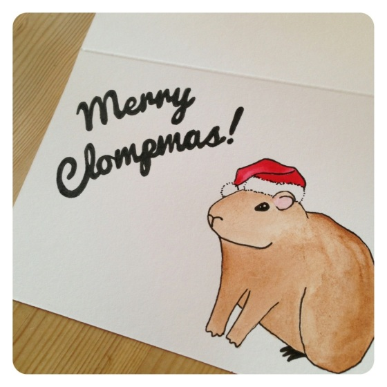 Hand painted Capybara Christmas card by Under a Glass Sky on Etsy