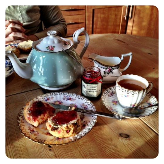 Home made scones with tea