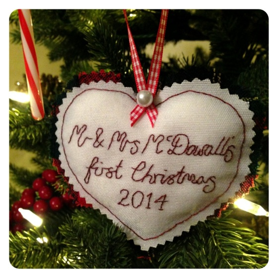 Hand stitched personalised Christmas tree ornament gift idea