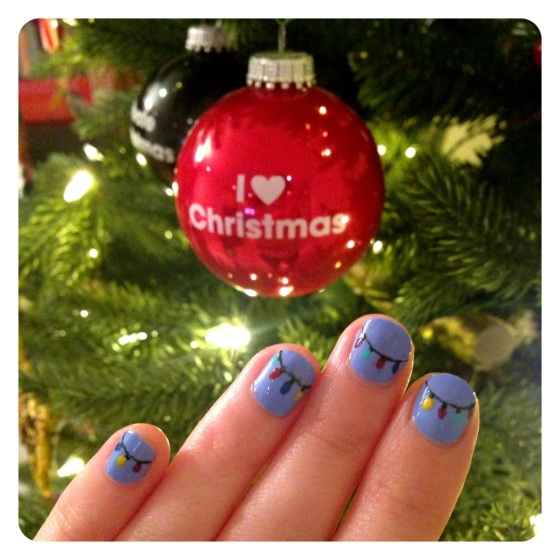 Festoon lights Christmas nail art