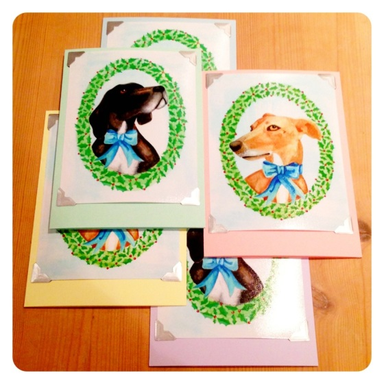 Home made Christmas cards with pet portraits
