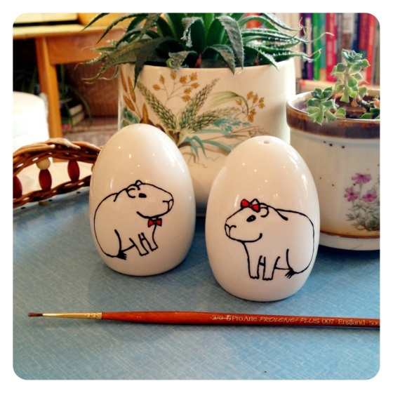 Hand painted salt and pepper shakers with Capybaras