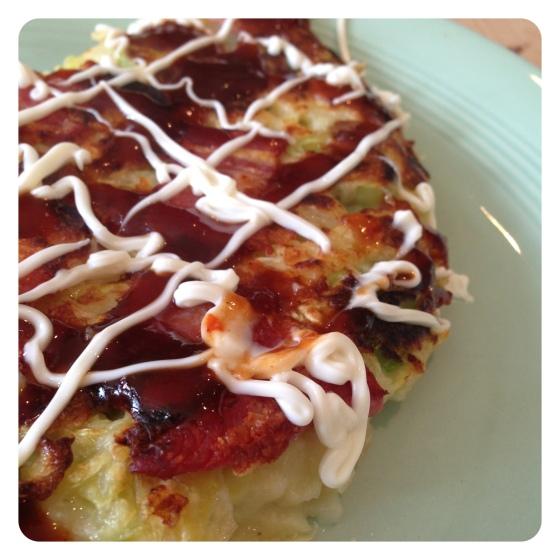 Okonomyaki (or Japanese pancake / cabbage omlette)