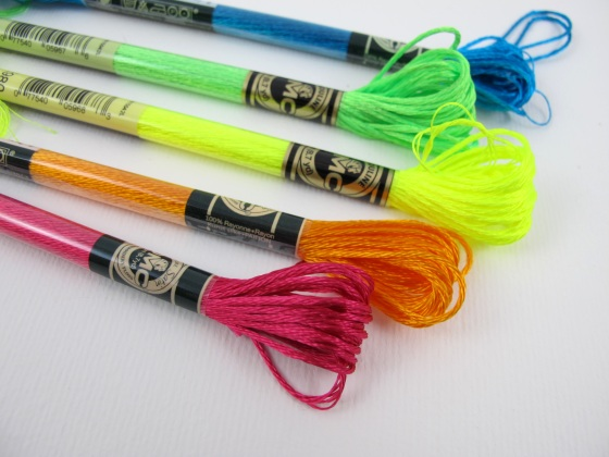 Neon embroidery threads from Hobbycraft