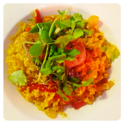 Vegan Jambalaya at Global Tribe Cafe, Leeds