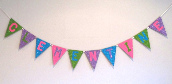 Glitter Name Bunting Tutorial by Under a Glass Sky