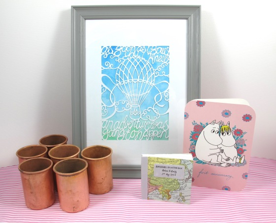 DIY papercut, wedding anniversary book, Moomin card and copper julep cans