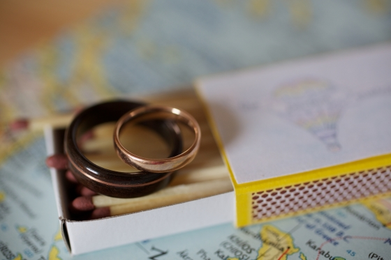 Our wedding: the rings inside one of our customised match boxes (via Under a Glass Sky)
