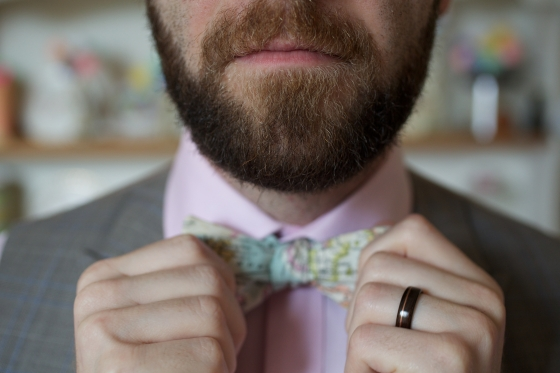 Our wedding: the Groom's hand made vintage map bow tie and rosewood ring