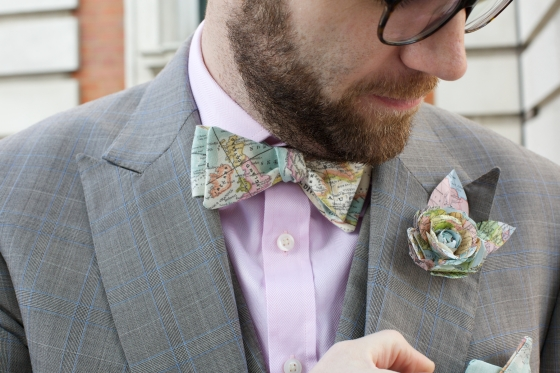 Our wedding: vintage map bow tie and button hole boutonniere