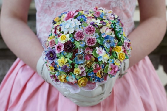 Hand made DIY china flower brooch bouquet