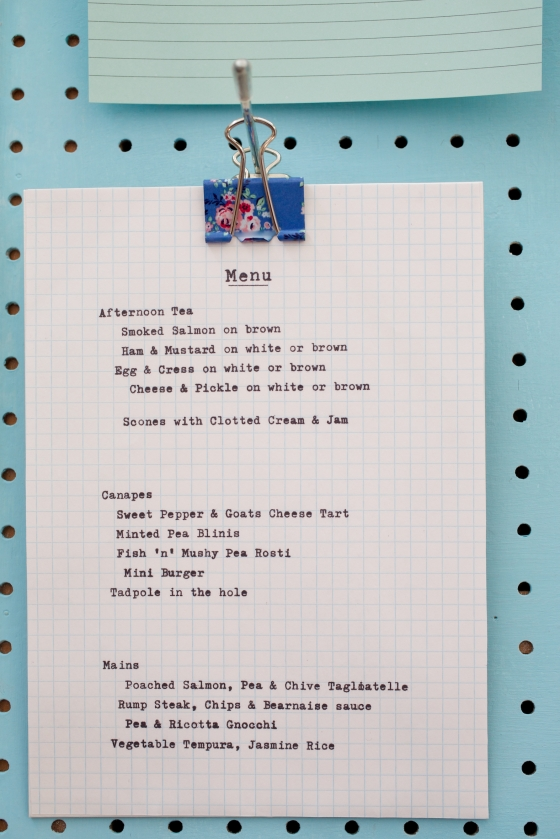 Our Wedding: The Menu
