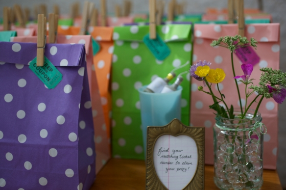 Polka dot party bags tombola for wedding favours