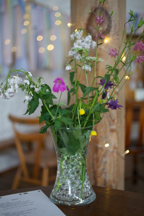 DIY hand picked wild flowers for wedding