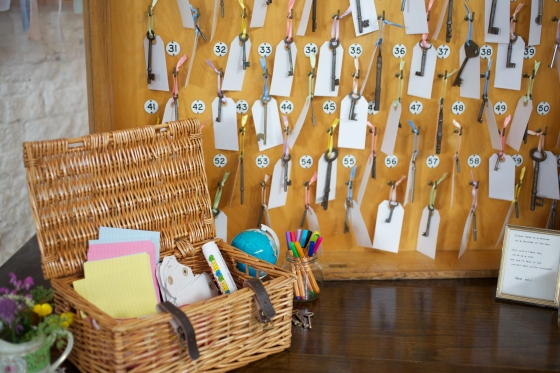 DIY wedding guest book hotel key cabinet