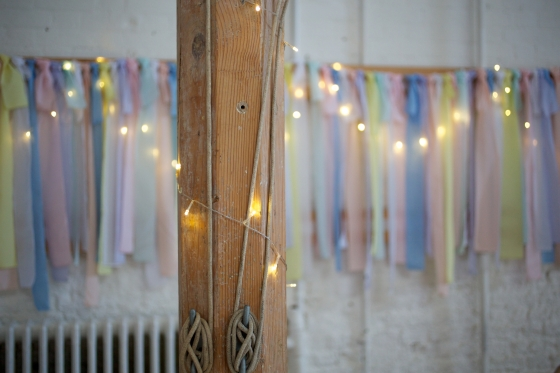 DIY ribbon garland and fairy lights, wedding decor
