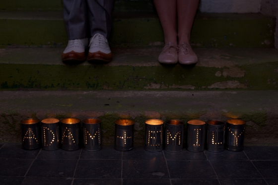 DIY wedding decor, tin can tea lights with names