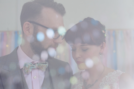 Bokeh effect double exposure wedding portrait, Sharon Cooper Photography