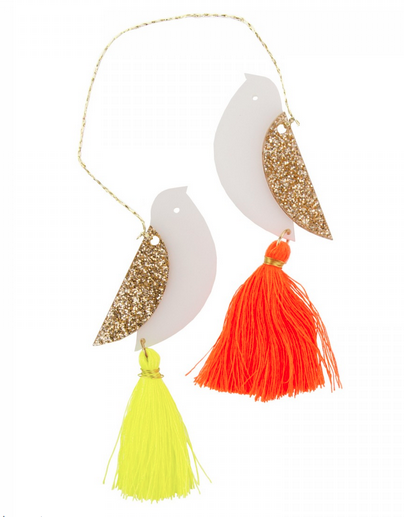Turtle Doves with Neon Tassels Christmas tree ornament via Under a Glass Sky