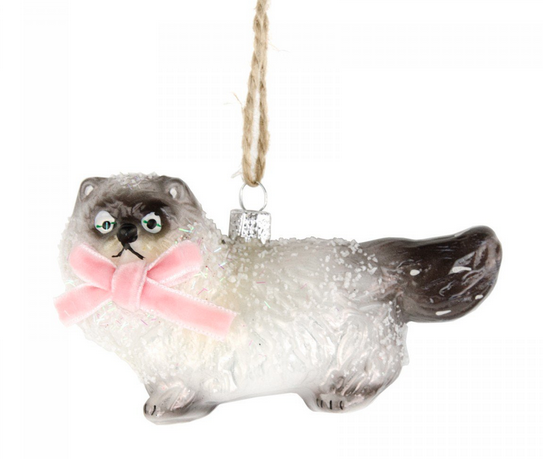 Scaredy Cat with pink bow Christmas tree ornament via Under a Glass Sky
