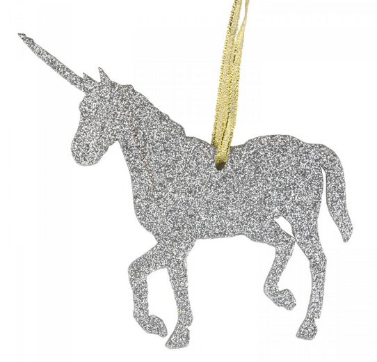 Silver Glitter Unicorn Christmas tree ornament via Under a Glass Sky