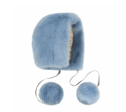 Helen Moore: POWDER BLUE FAUX FUR POM-POM BONNET, £90.00